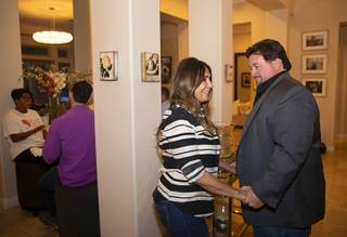 City Council Ward Two candidate Victoria Seaman greets Nevada State GOP Chairman Michael McDonald during an election watch party at her home Tuesday, June 11, 2019.