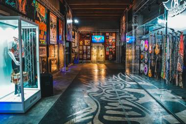 Inside the pop-up Aerosmith museum at Park Theater.