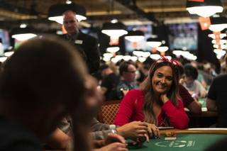 Kami Hudson from Vegas calls another player's bet during the World Series of Poker at the Rio Wednesday, July 3, 2019.
