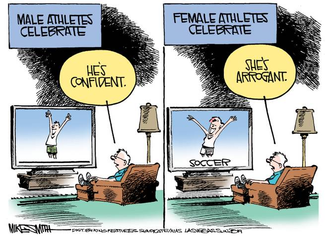 Frame One:  Man looks at television as male athlete celebrates and thinks,