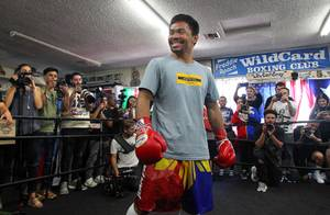July 10, 2019, Hollywood,Ca. ---  Manny Pacquiao trains during media day for his upcoming WBA World Welterweight title fight against undefeated Keith Thurman ,  Saturday, July 20 from the MGM Grand Garden Arena in Las Vegas.