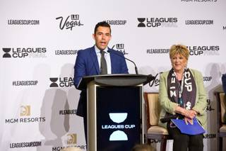 Retired American Soccer player Herculez Gomez speaks to a room of invited guests and media during a press conference at the Bellagio for the Leagues Cup Final, Thursday July 11, 2019.