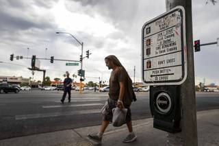 Pedestrians are shown on Boulder Highway at Flamingo Road Friday, July 12, 2019. Erin Breen, coordinator with the Traffic Safety Coalition, calls the area a