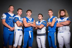 Members of the Moapa Valley High School football team are pictured during the Las Vegas Sun's high school football media day at the Red Rock Resort on July 24, 2019. They include, from left, Kellen Wallace, Hayden Redd, Thomas Bellavance, NAthan Dalley and Kele Henderson.