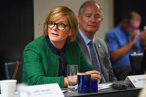 Rep. Susie Lee, D-Nev., speaks during a roundtable with business and tourism leaders regarding a variety of local and federal issues vital to Nevada's tourism industry Wednesday, August 14, 2019, at the Delano.
