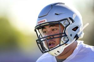 UNLV Rebels offensive lineman Justin Polu (78), a Silverado High School graduate, practices with the team at Rebel Park at UNLV Friday, Aug. 2, 2019.