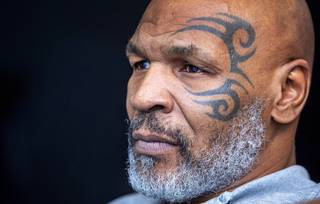 Former heavyweight champion Mike Tyson is shown before a fan meet and greet at Planet 13 dispensary Saturday, Aug. 31, 2019. Tyson was promoting his line of Tyson Ranch brand marijuana and CBD products.