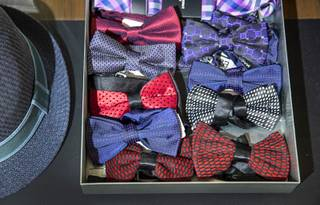Bowties are displayed at Misura, a menswear retail store inside the Appian Way Shops at Caesars Palace, Wednesday, Sept. 4, 2019.