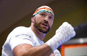 Heavyweight boxer Tyson Fury of England shadowboxes during open workouts at the MGM Grand Tuesday, Sept. 10, 2019. Fury of England and Otto Wallin of Sweden, both undefeated, will fight at T-Mobile Arena Saturday, Sept. 14.