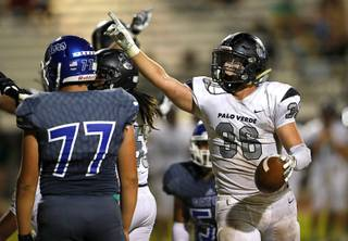 Palo Verde's Tanner Vaughan (36) celebrates after recovering a Green Valley fumble during a game at Green Valley High School in Henderson, Friday, Sept. 13, 2019.