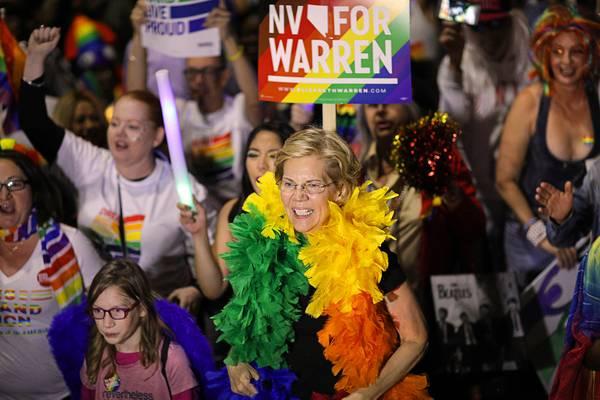 Democrat Elizabeth Warren marches in Las Vegas Pride parade
