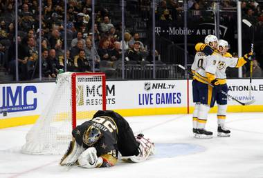 The play that made Golden Knights fans pull their hair out came on Nashville's fourth goal. When Marc-Andre Fleury went to play a dump-in behind the net, his clearing went right to Filip Forsberg's stick and into the net ...